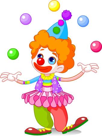 Cute funny clown juggling. Vector illustration