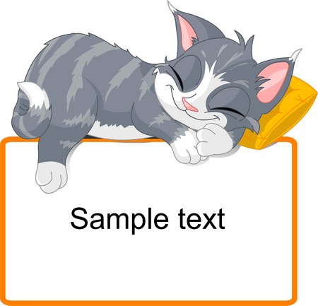 Photo for Cute gray cat sleeping on text block - Royalty Free Image
