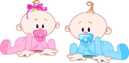 Foto de Two adorable babies -  the girl with bow and the boy. - Imagen libre de derechos