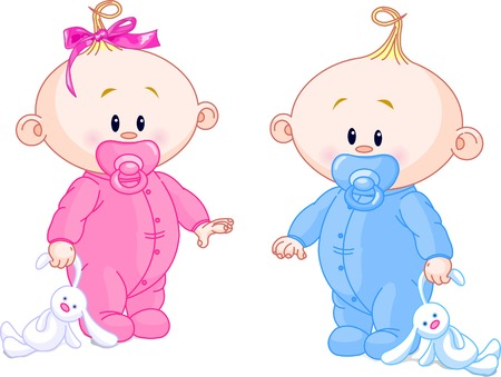 Illustration for Twin Baby Boy And Girl With Pacifiers and Toys - Royalty Free Image