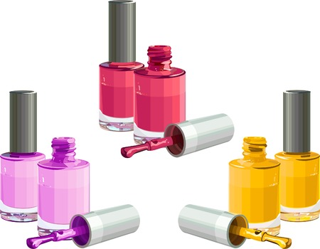 Bottles of  nail polish, isolated on white background. Vector