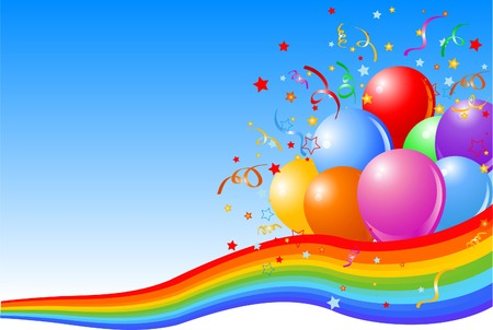illustration of Party balloons background with rainbow ribbon