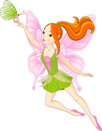 Illustration for Vector illustration of flying Beautiful fairy and butterfly - Royalty Free Image