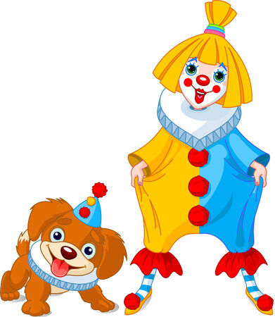 Funny clown girl with her friend – clown puppy