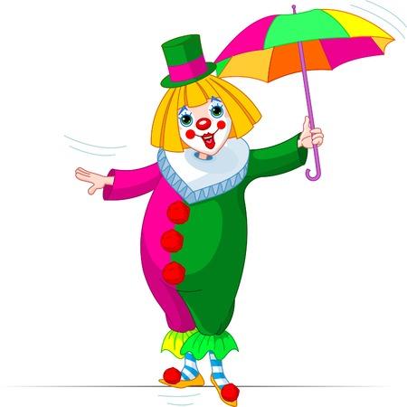 Rope-walker Clown girl with umbrella