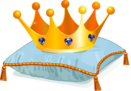 Gold Queen's  crown on the blue pillow