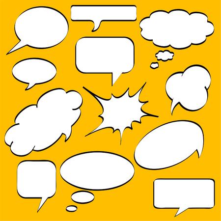 Illustration pour Comics style speech bubbles / balloons on yellow background - image libre de droit