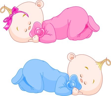 Illustration for Two charming little twins sleep in pajamas - Royalty Free Image