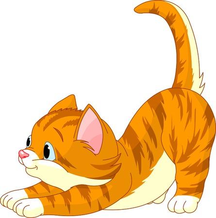 Illustration pour Cute red hair Cat stretching against white background - image libre de droit