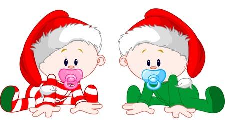 Photo pour Two cute babies with Christmas costumes - image libre de droit