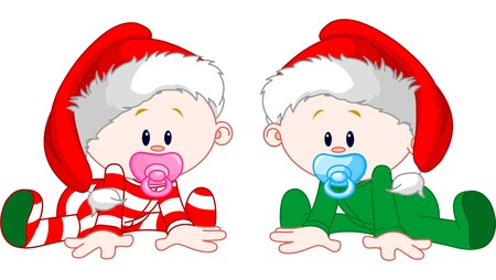 Photo for Two cute babies with Christmas costumes - Royalty Free Image