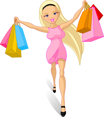Illustration pour Illustration of happy Shopping girl  - image libre de droit