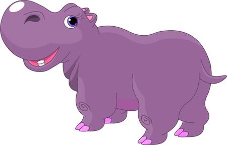Ilustración de Illustration of funny fat cartoon Hippo  - Imagen libre de derechos