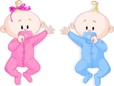 Illustration for Two baby twins lie and keep the pacifiers - Royalty Free Image