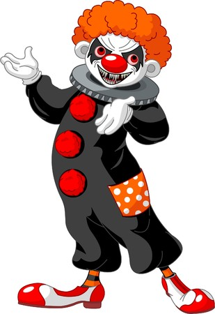 Illustration of Scary Halloween clown presenting (showing)