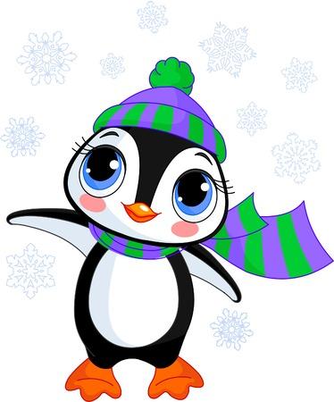 Ilustración de Illustration of cute winter penguin with hat and scarf  pointing - Imagen libre de derechos