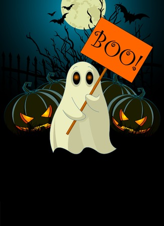 Halloween  invitation  of Very cute ghost with ᅵBooᅵ sign