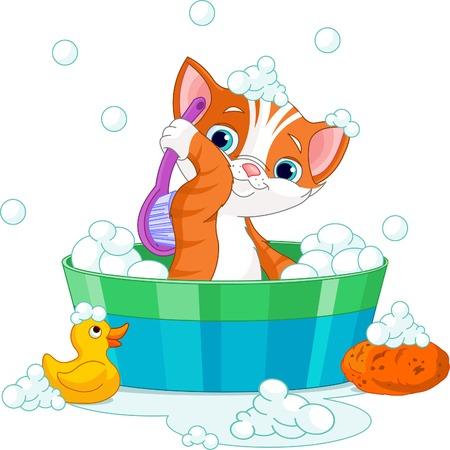 Very cute  cat having a soapy bath