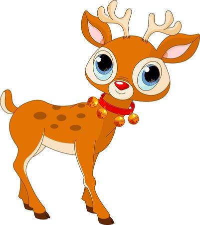 Illustration of beautiful cartoon reindeer Rudolf