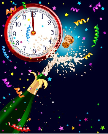 Celebration  background with Champagne and clock. Best for New Yearᅵs Eve