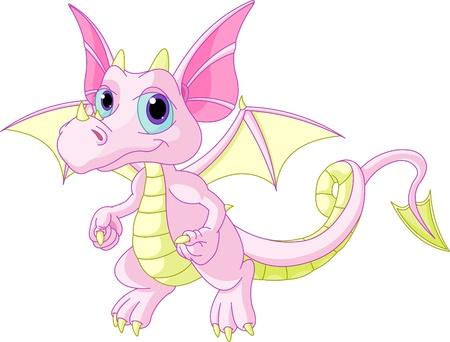 Illustration pour Illustration of Cute Cartoon baby dragon flaying - image libre de droit