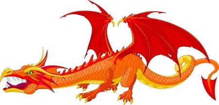 Illustration pour Illustration of a beautiful detailed red  dragon  - image libre de droit