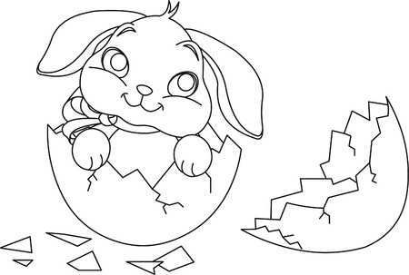 Easter bunny and eggs coloring page Royalty Free Vector | 303x450