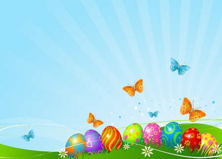 Abstract Easter background with Beautiful coloring Easter eggs on the meadow