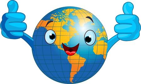 Cartoon world globe giving thumbs up.  (Western Hemisphere)