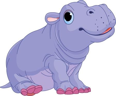 Ilustración de Illustration of cute baby Hippo boy - Imagen libre de derechos