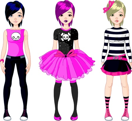 Illustration of three  Emo stile girls
