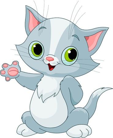 Illustration of cute kitten showing