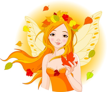 Illustration of beautiful Autumn fairy with Maple Leaf
