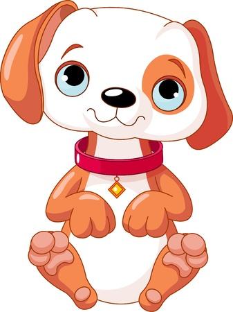 Ilustración de Illustration of a cute puppy wearing a red collar - Imagen libre de derechos