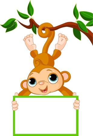 Ilustración de Cute baby monkey on a tree holding blank sign - Imagen libre de derechos