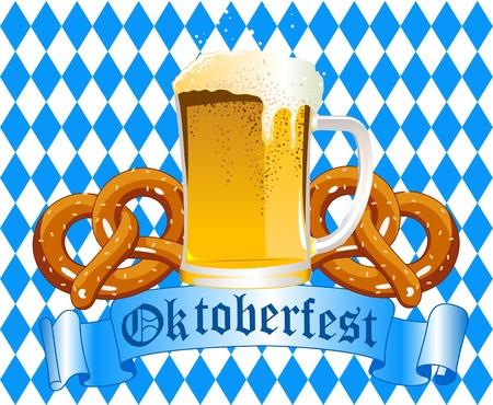 Oktober fest Celebration Background with Beer and Pretzel
