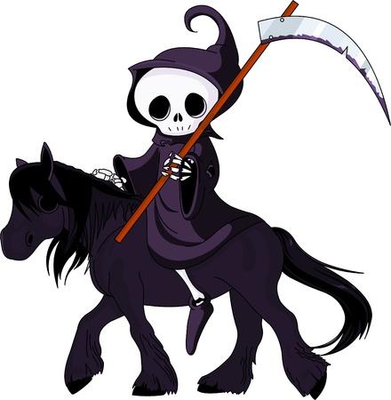 Illustration pour Cute cartoon grim reaper with scythe  riding black horse - image libre de droit
