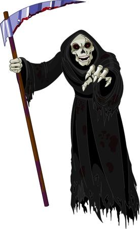 Illustration pour halloween horrible grim reaper   - image libre de droit