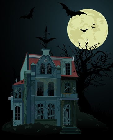 Spooky haunted ghost house background