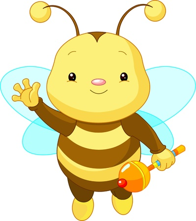 Illustration for Friendly Cute Baby Bee with rattle  - Royalty Free Image
