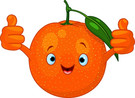 Illustration of Cheerful Cartoon Orange character