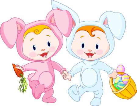 Photo pour Two cute Easter Babies-bunnies, holding hands - image libre de droit