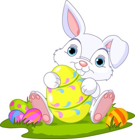 Ilustración de Cute Easter Bunny holding Easter Egg - Imagen libre de derechos