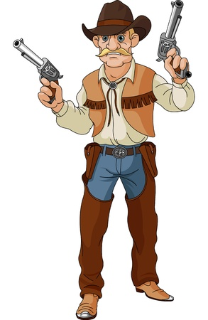 Illustration pour Wild west   Cowboy getting ready for a shootout - image libre de droit