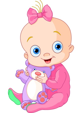 Illustration for Illustration of Cute baby girl with Teddy Bear - Royalty Free Image
