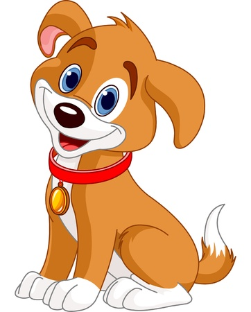 Illustration of cute puppy, wearing a red collar with gold tag