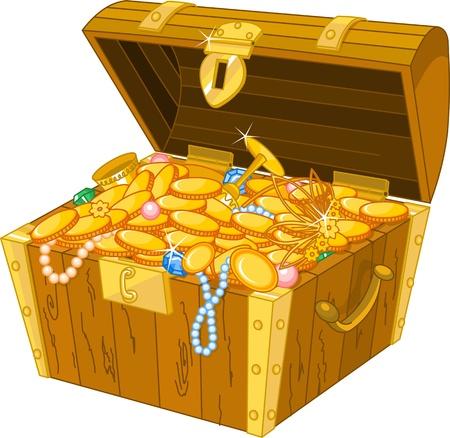 Illustration of treasure chest full of gold
