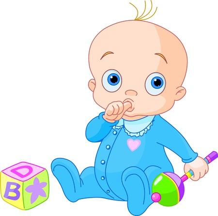 Illustration for   Baby Boy playing with rattle - Royalty Free Image