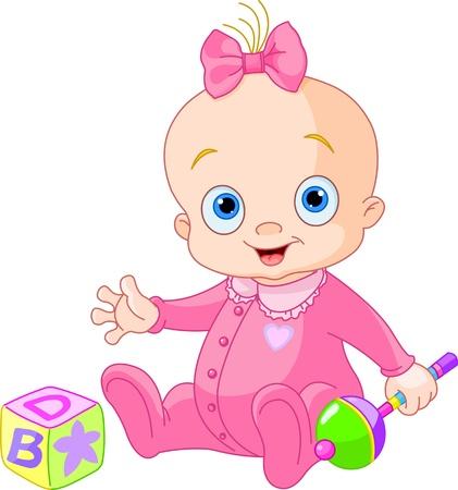 Ilustración de Baby Girl  playing with rattle - Imagen libre de derechos