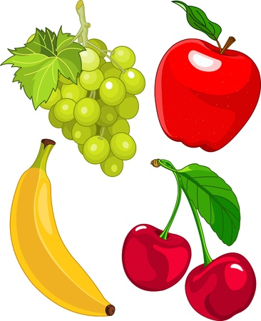 Illustration for Cartoon fruit set, include banana, grape, apple and cherry - Royalty Free Image